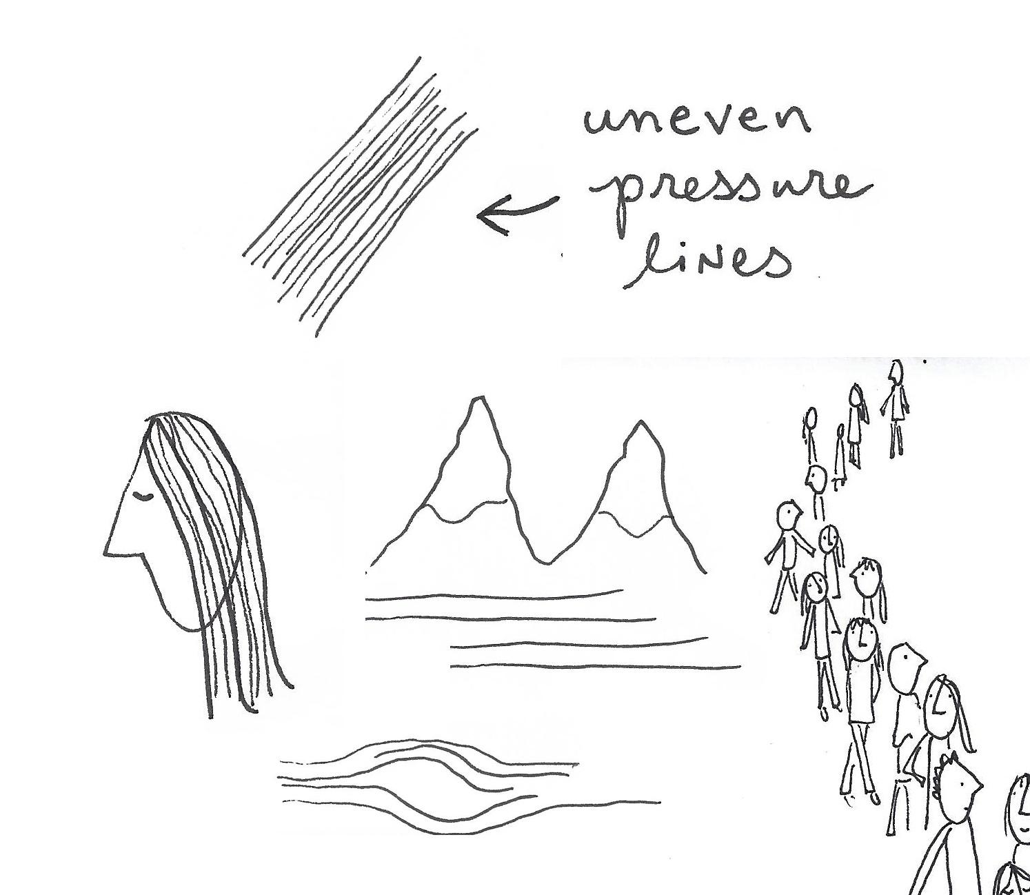 Uneven pressure lines for variation