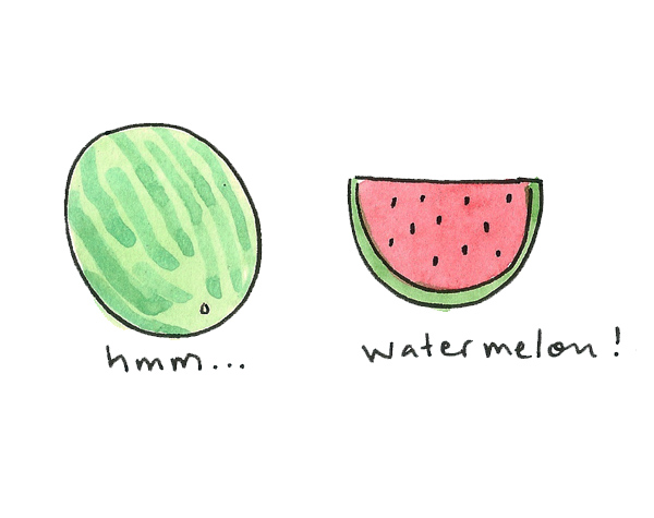 A slice is more recognizable than a whole watermelon