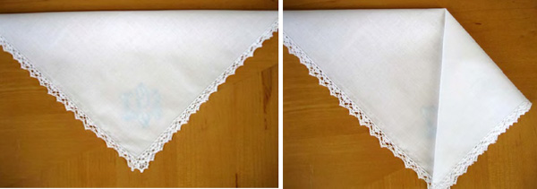 white embroidered hankie
