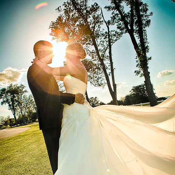 Almost sunset wedding photo