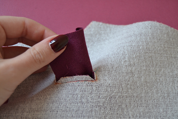 pass the patch throught the bound buttonhole box opening