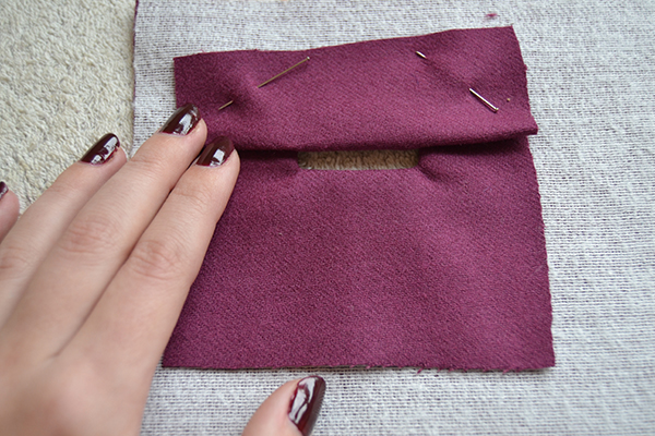 fold the patch to create the first lip of the bound buttonhole