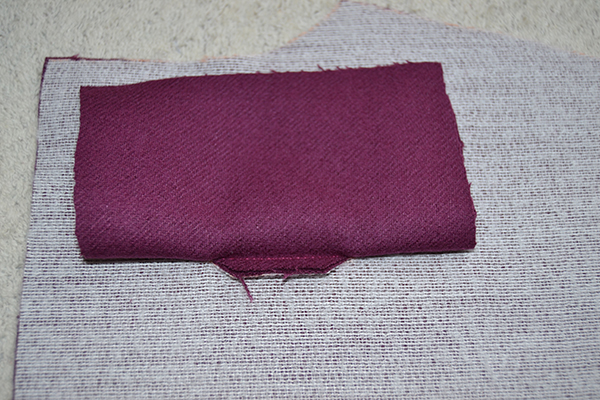fold the patch to create the second lip of the bound buttonhole