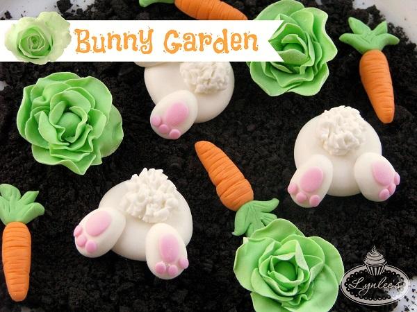 Bunny garden fondant toppers