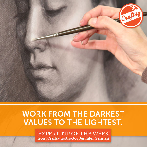Work From the Darkest Values to the Lightest - Drawing Tip on Bluprint