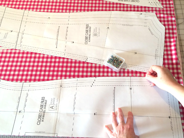 pin the pattern to the fabric