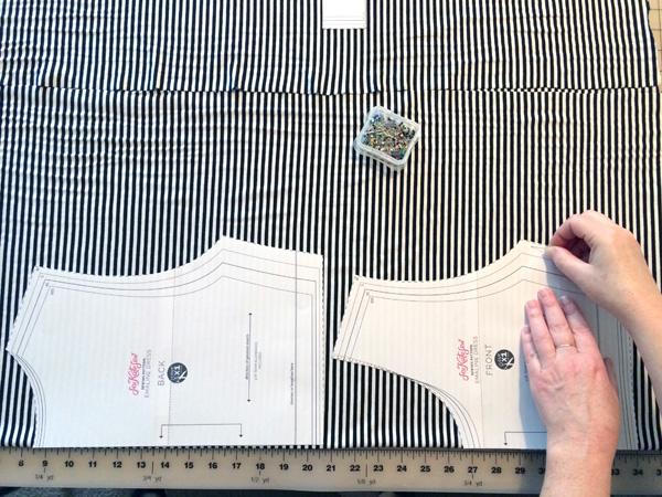 pin the pattern to fabric