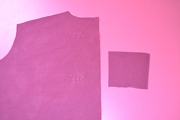 cut the patch for the bound buttonhole