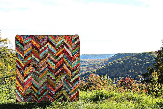 Fall Herringbone Quilt by Maureen Cracknell