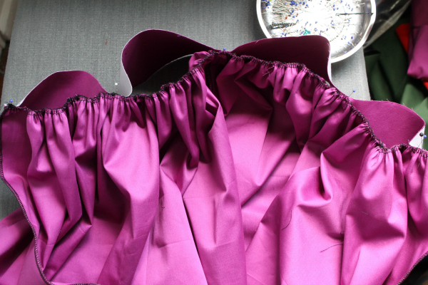 gather fabric to attach to waistband