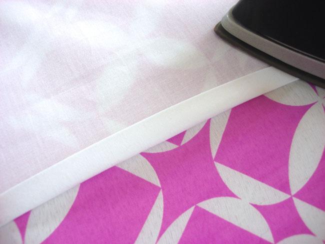 Ironing a curtain hem