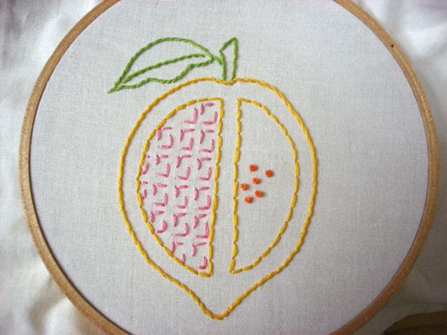lemon split embroidery