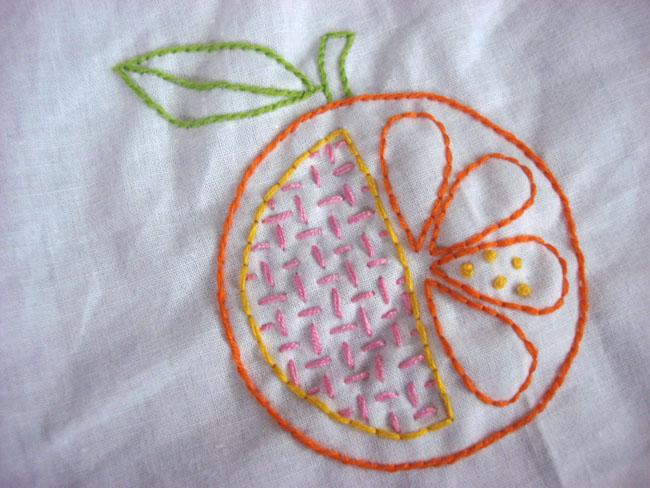 hatchet orange embroidery