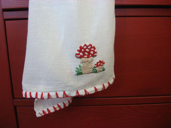 embroidered mushroom tea towel