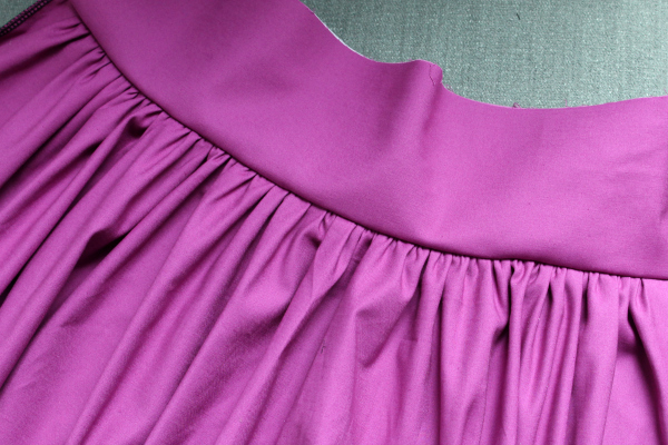 gathered skirt to waistband with serger