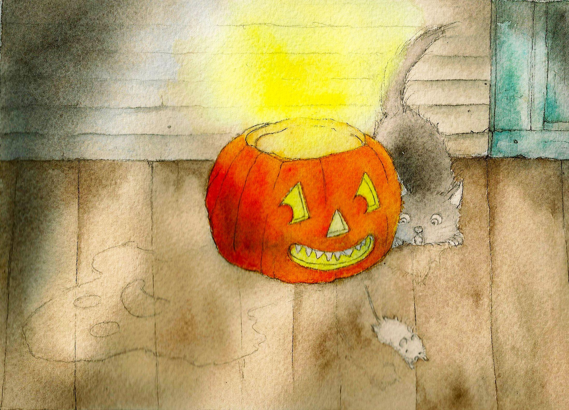 Finishing the pumpkin
