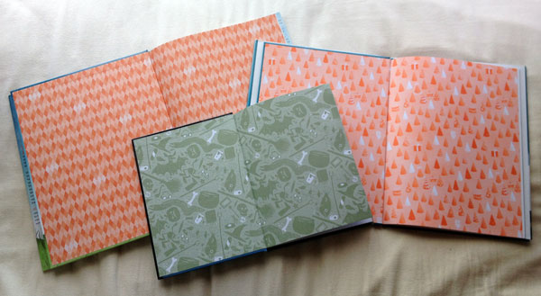 Endpapers from Nine Words Max, That One Spooky Night, and If Kids Ruled the World