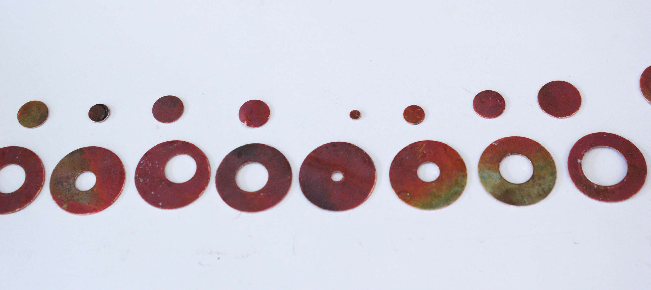 Collection of the punched washers