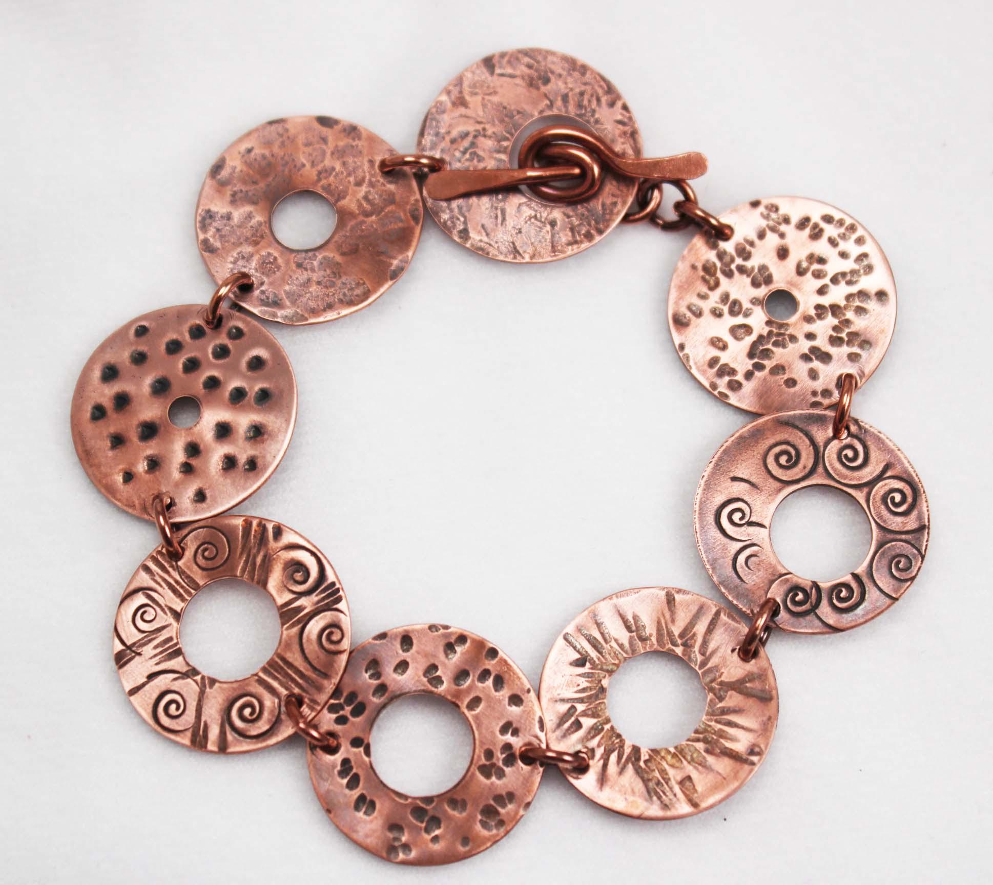 Handmade bracelet created using washers