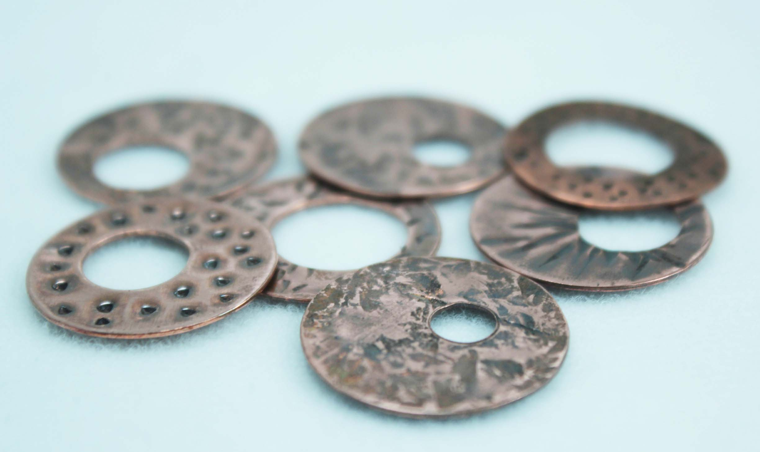 Selection of textured copper discs