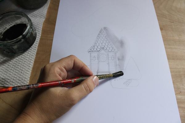 ink wash on a sketch