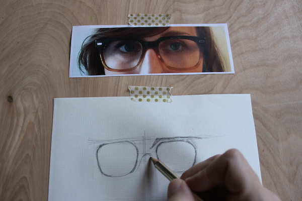 In progress drawing of glasses