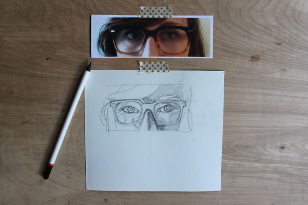 Starting to shade drawing of glasses