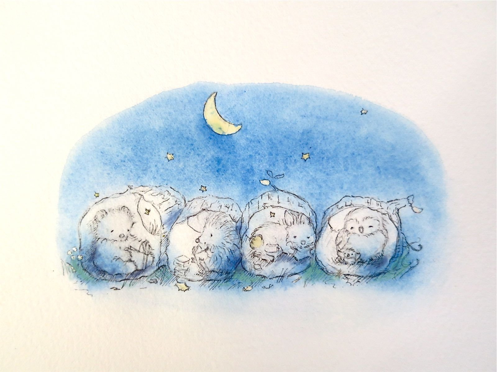 Painted illustration of sleeping baby animals