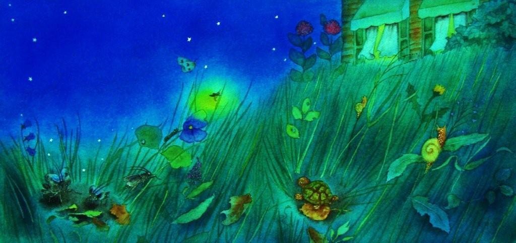 Beautiful summer evening illustration