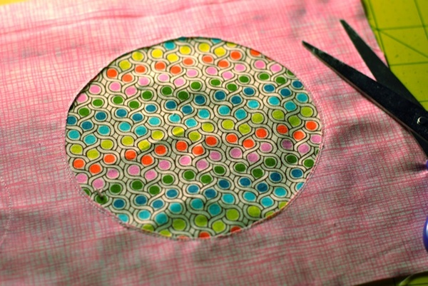 Pink + Rainbow Reverse Applique Circle