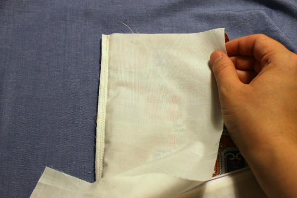 lining and garment fabrics right sides together
