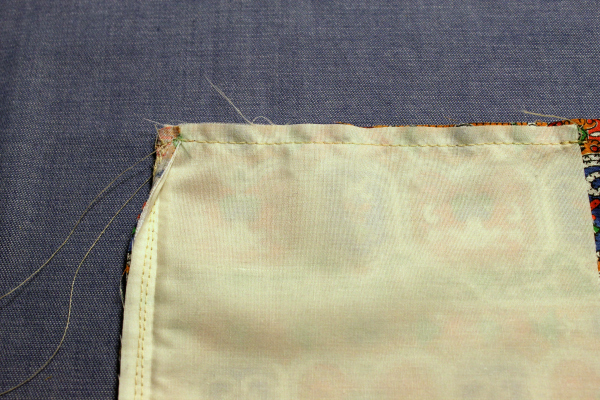 lining sewn to garment top edge