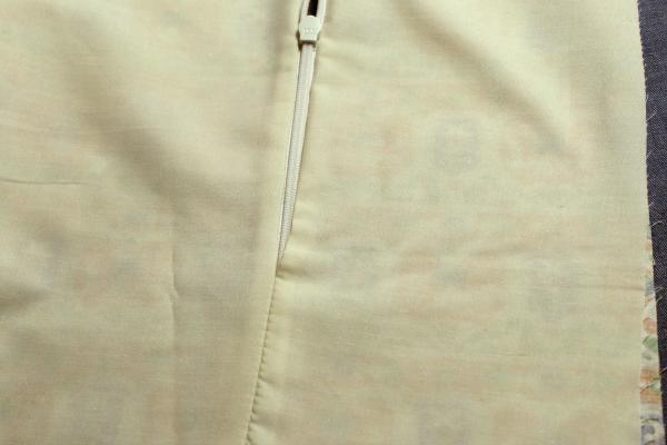 lining seam below zipper