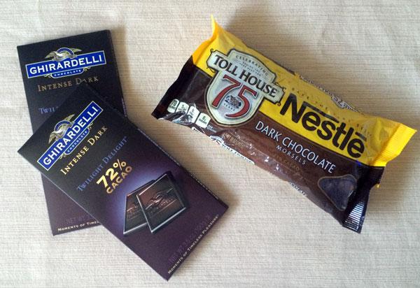 selecting dark chocolate