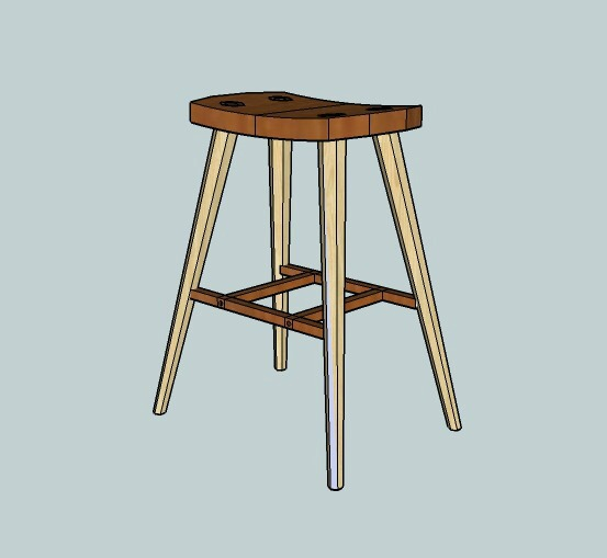 3D drawing of stool