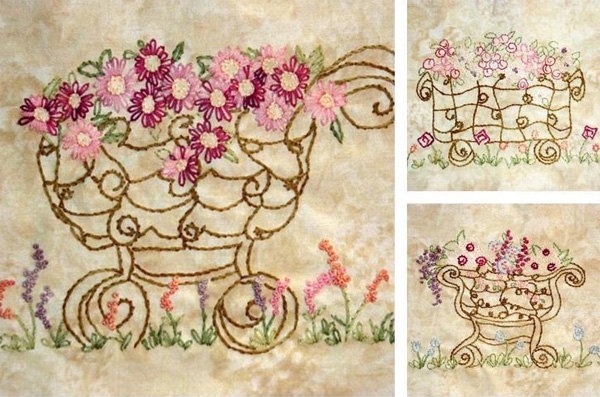 Flower Garden Carts pattern by Country Garden Stitchery