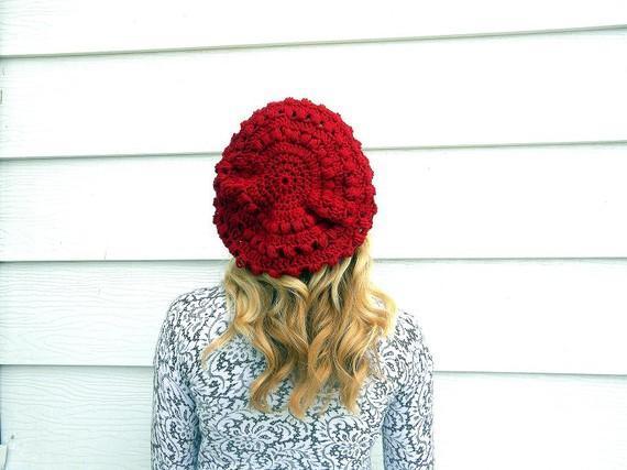 Popcorn Slouch Beret crochet pattern