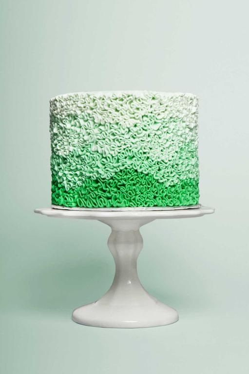 Waves of Green Ombre Buttercream Cake