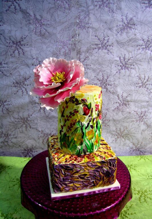 Palette knife cake with flower