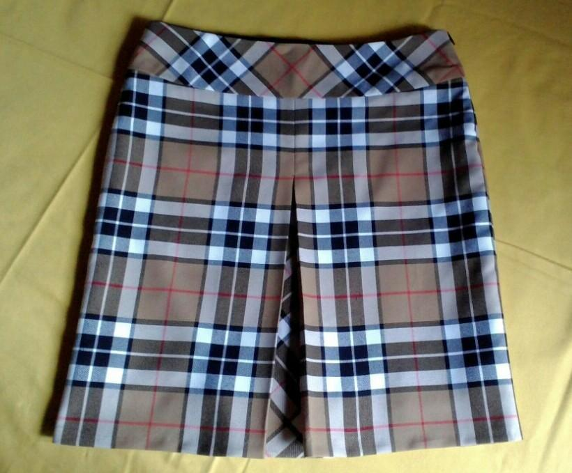 Plaid A-Line Skirt with Center Pleat