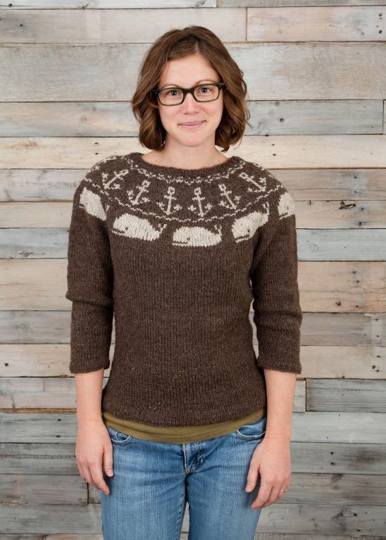 Whale of a Sea Life custom yoke knitted sweater