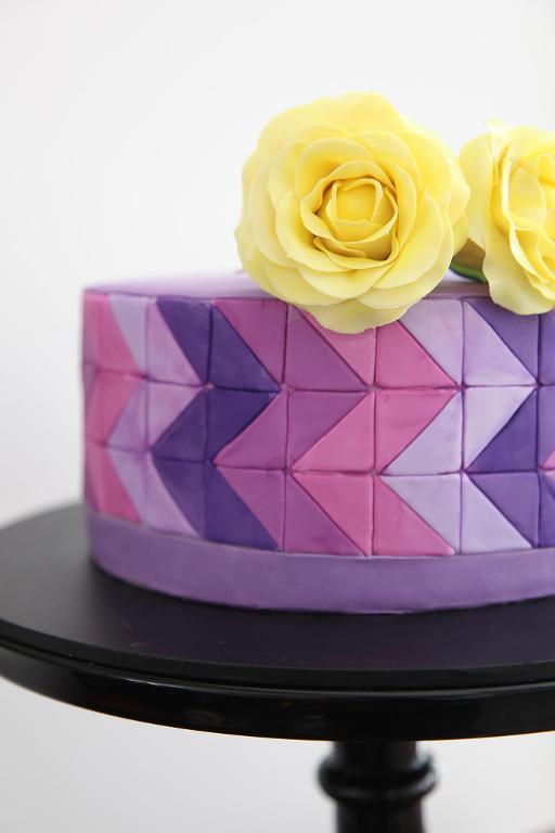 Mosaic purple painted cake