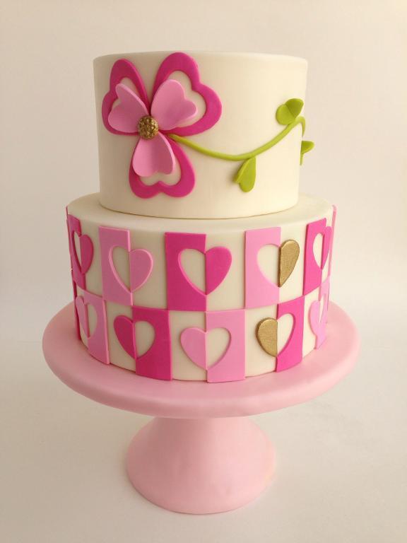 Heart Mosaic Cake Design