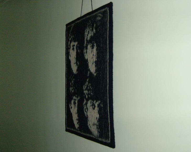 Knitted Beatles illusion wall hanging