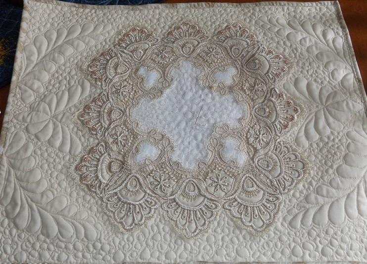 Beaded Quilted Table Topper