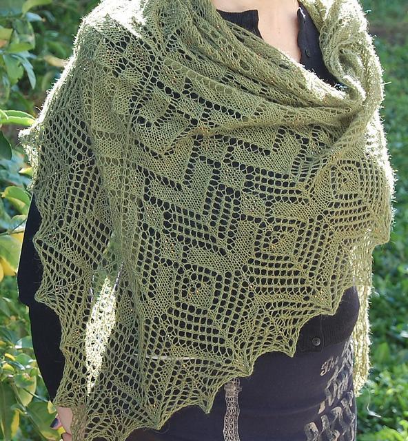 Chevron knitted shawl