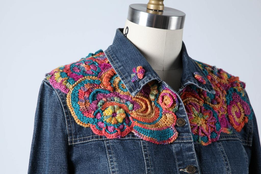 Shirt embellished with freeform crochet