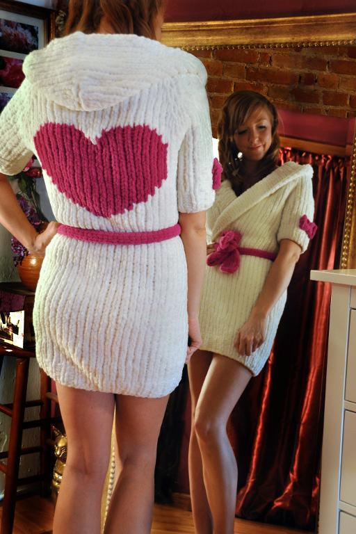 Knitted cuddle bunny robe