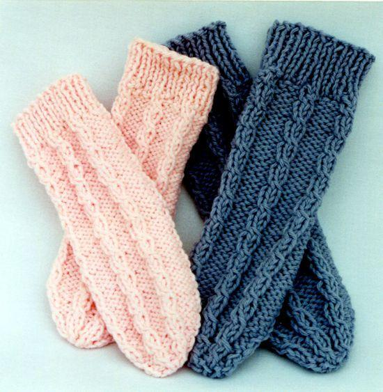 Knitted slippers or bedsocks