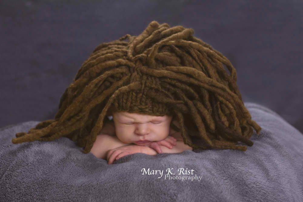 Knitted Marley dreadlock baby hat